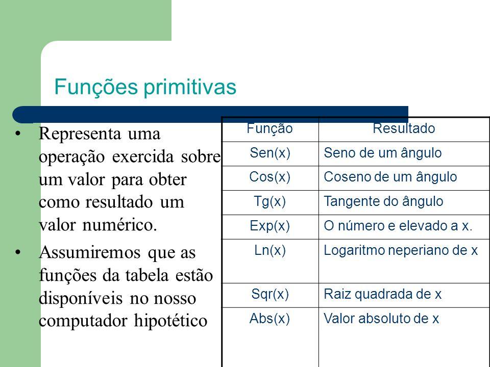 Funções primitivas Representa uma operação exercida sobre um valor para obter como resultado um valor numérico.