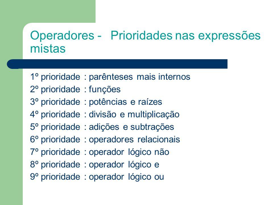 Operadores - Prioridades nas expressões mistas