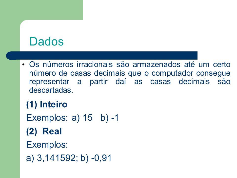Dados (1) Inteiro Exemplos: a) 15 b) -1 (2) Real Exemplos: