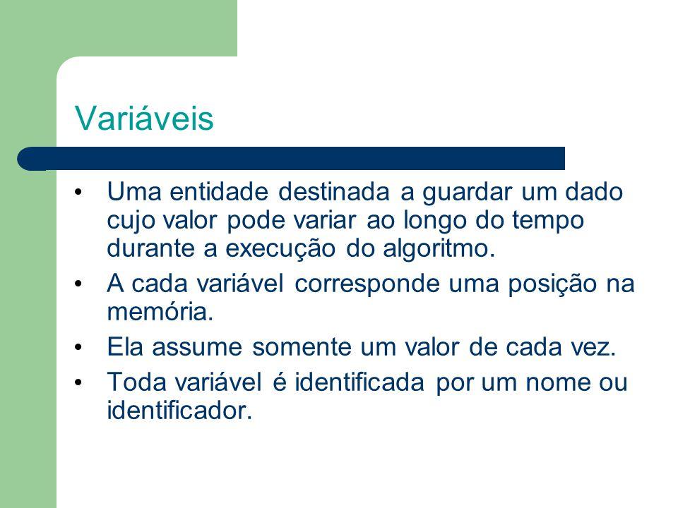 Variáveis Uma entidade destinada a guardar um dado cujo valor pode variar ao longo do tempo durante a execução do algoritmo.