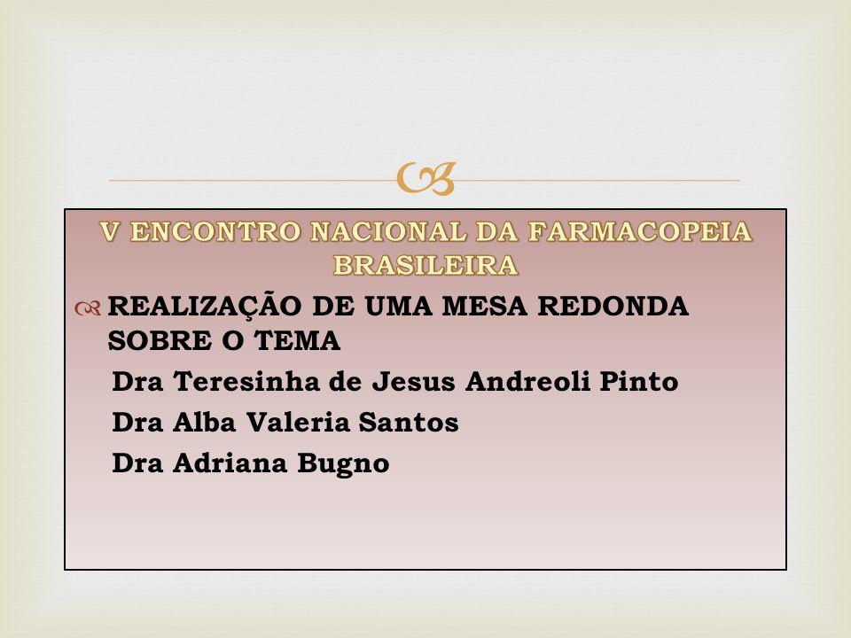 V ENCONTRO NACIONAL DA FARMACOPEIA BRASILEIRA
