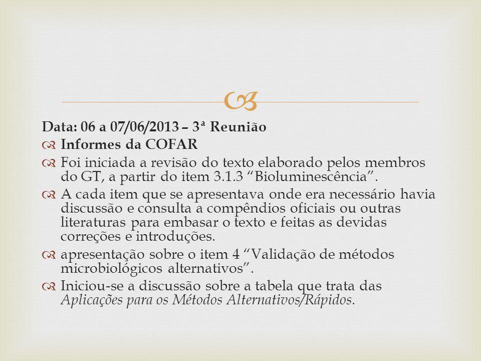 Data: 06 a 07/06/2013 – 3ª Reunião Informes da COFAR.