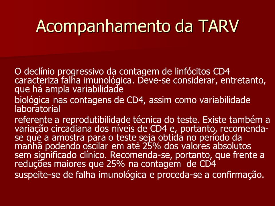 Acompanhamento da TARV