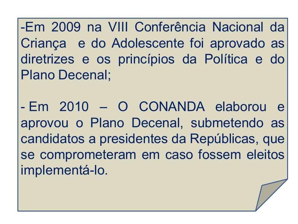 Em 2009 na VIII Conferência Nacional da Criança e do Adolescente foi aprovado as diretrizes e os princípios da Política e do Plano Decenal;