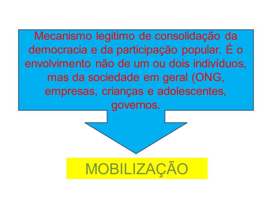 Mecanismo legitimo de consolidação da democracia e da participação popular. É o envolvimento não de um ou dois indivíduos, mas da sociedade em geral (ONG, empresas, crianças e adolescentes, governos.