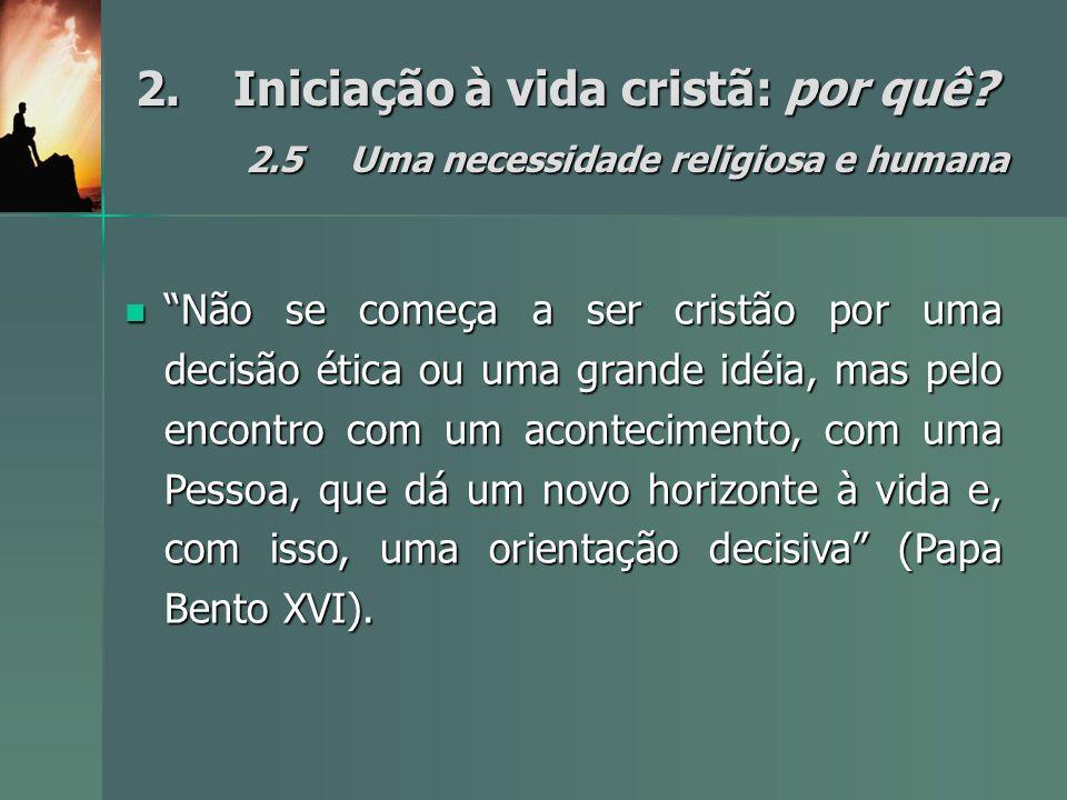 2. Iniciação à vida cristã: por quê. 2. 5