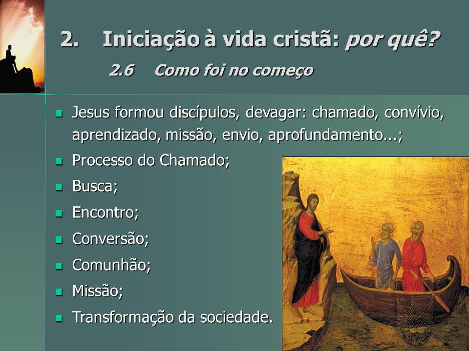 2. Iniciação à vida cristã: por quê 2.6 Como foi no começo