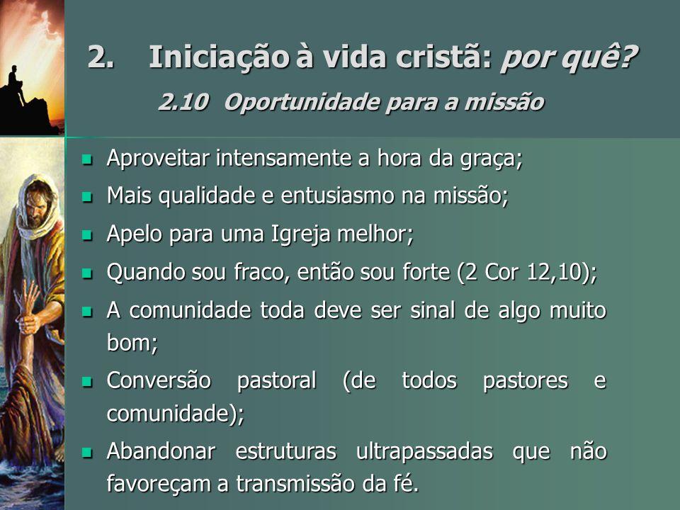 2. Iniciação à vida cristã: por quê 2.10 Oportunidade para a missão