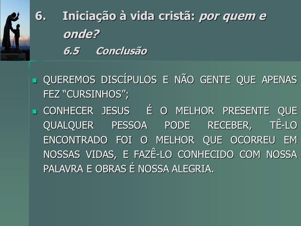 Iniciação à vida cristã: por quem e onde 6.5 Conclusão