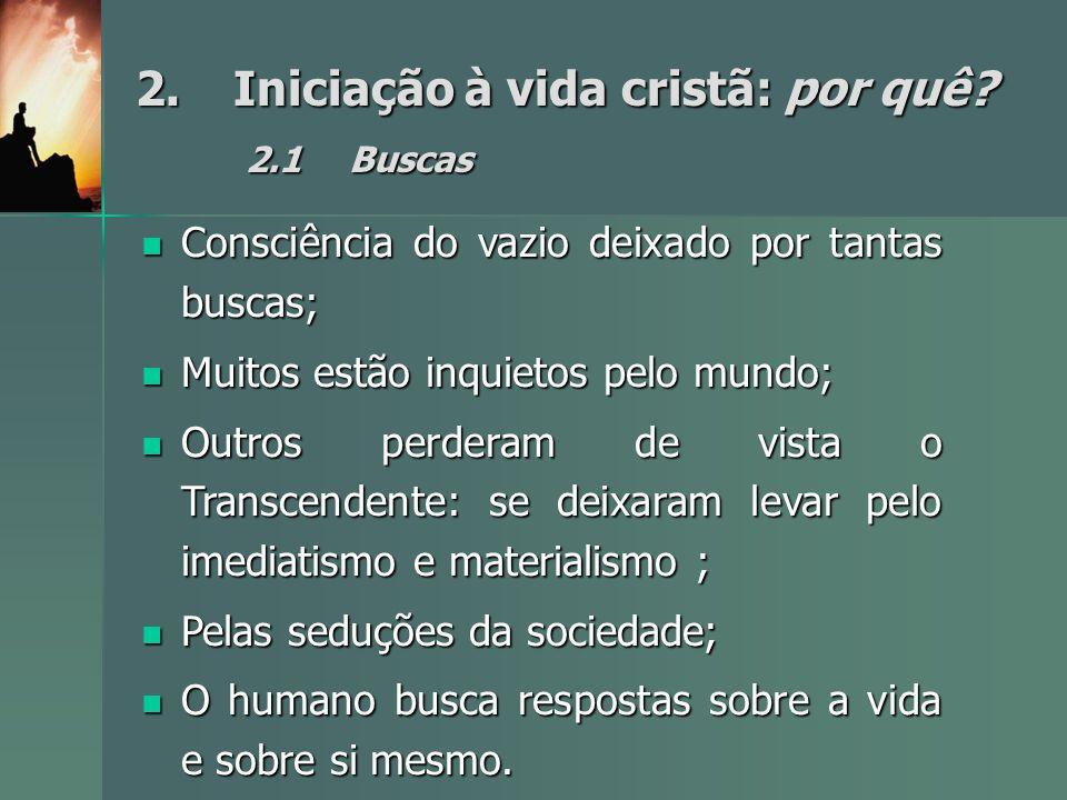2. Iniciação à vida cristã: por quê 2.1 Buscas