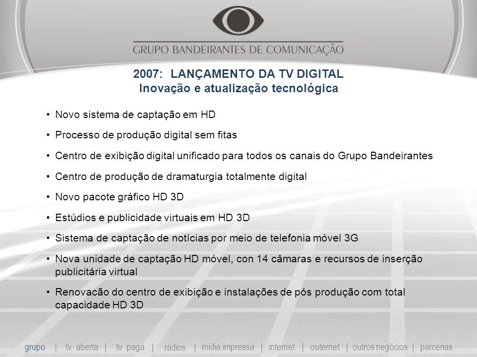 2007: LANÇAMENTO DA TV DIGITAL Inovação e atualização tecnológica