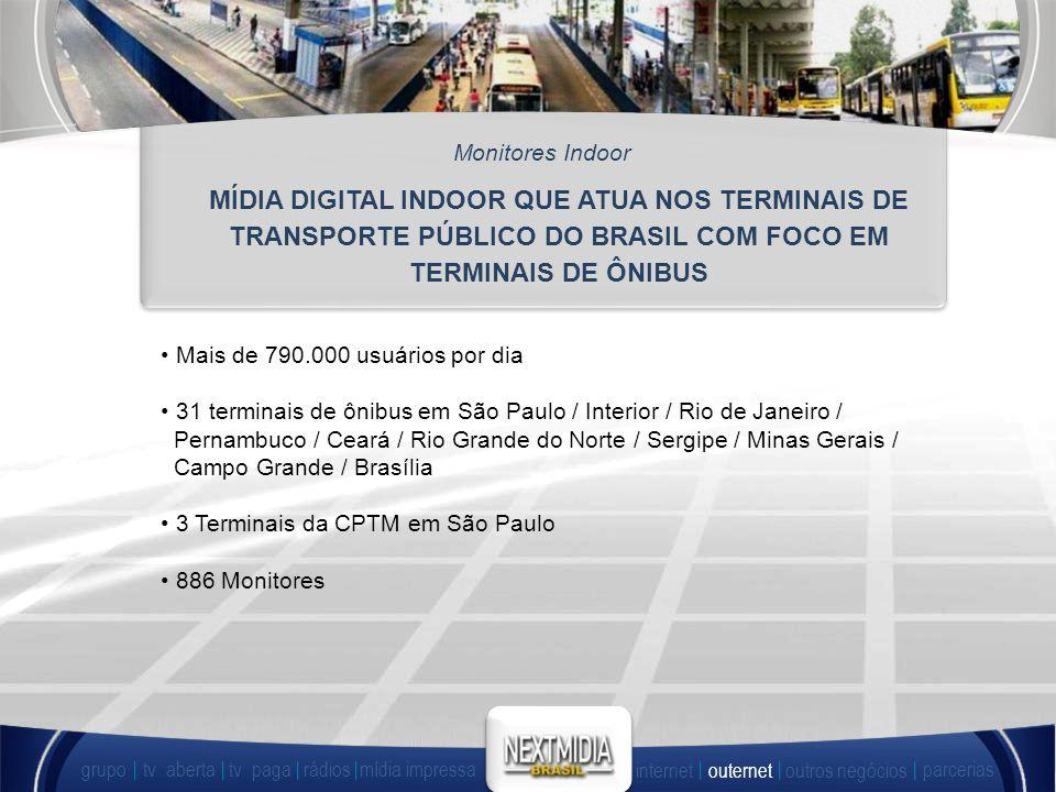 Monitores Indoor MÍDIA DIGITAL INDOOR QUE ATUA NOS TERMINAIS DE TRANSPORTE PÚBLICO DO BRASIL COM FOCO EM TERMINAIS DE ÔNIBUS.