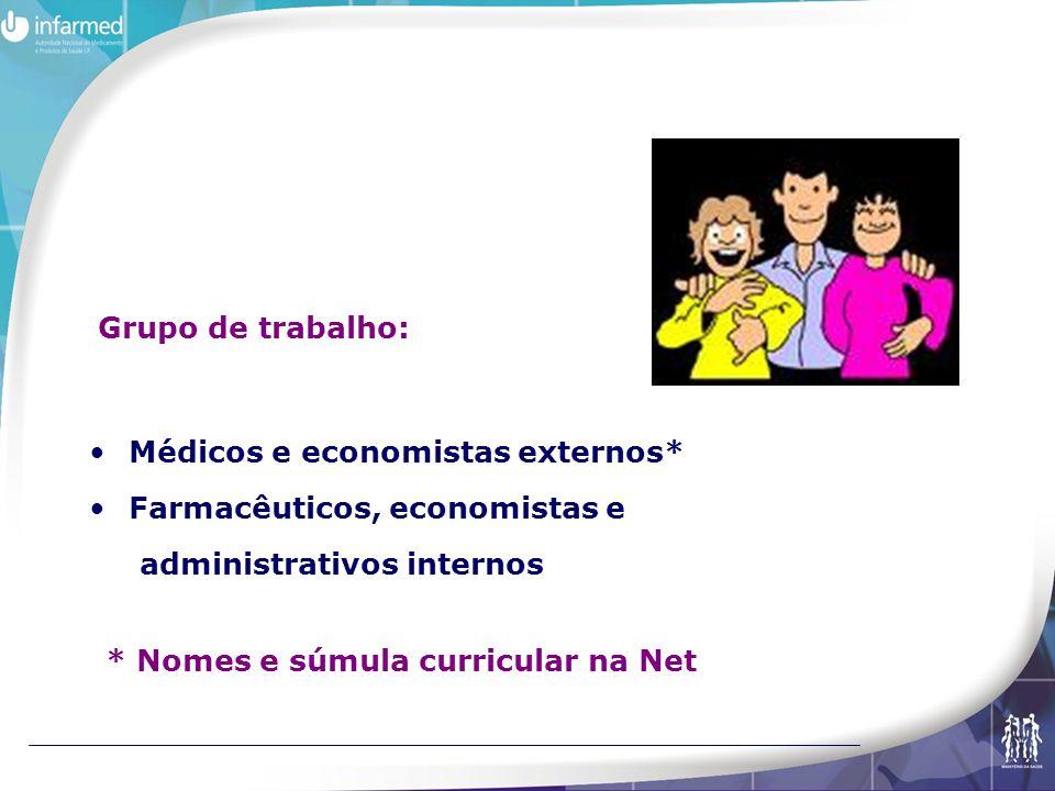 Grupo de trabalho: Médicos e economistas externos* Farmacêuticos, economistas e. administrativos internos.