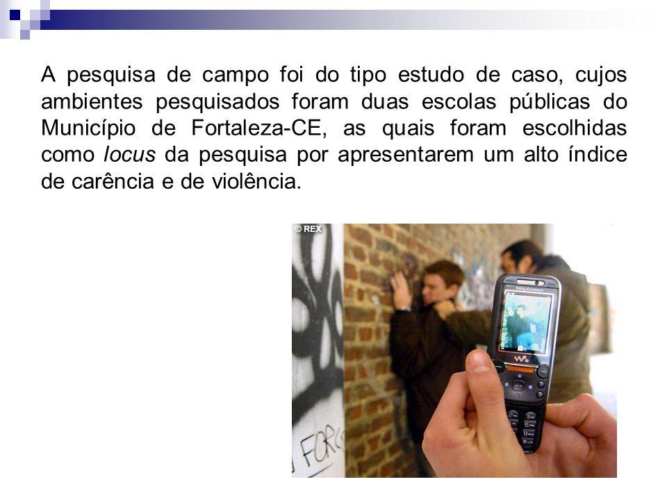 A pesquisa de campo foi do tipo estudo de caso, cujos ambientes pesquisados foram duas escolas públicas do Município de Fortaleza-CE, as quais foram escolhidas como locus da pesquisa por apresentarem um alto índice de carência e de violência.