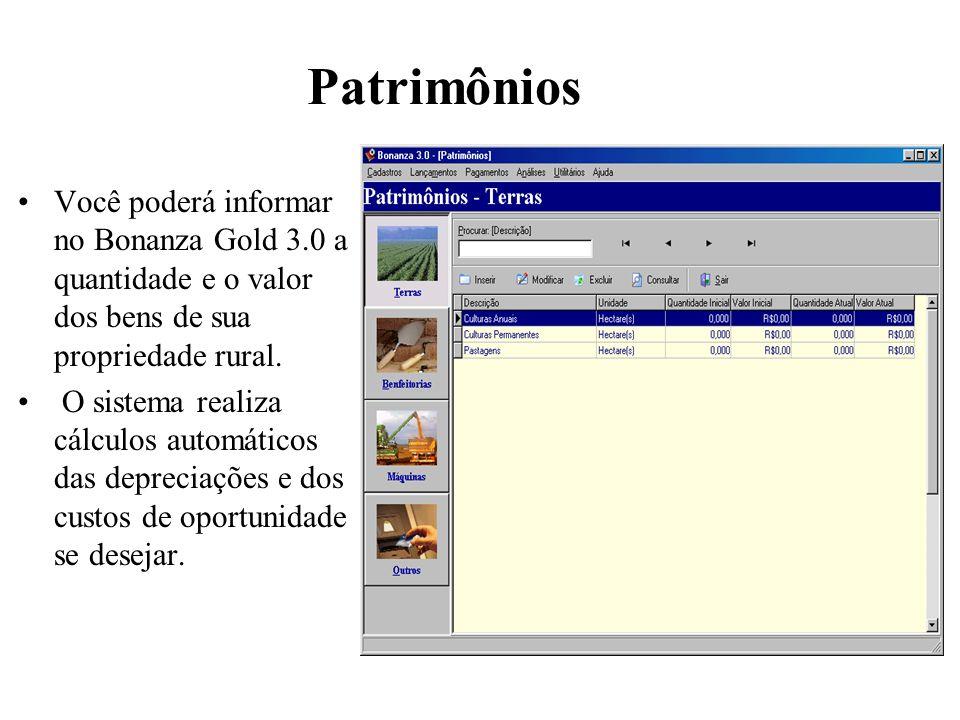 Patrimônios Você poderá informar no Bonanza Gold 3.0 a quantidade e o valor dos bens de sua propriedade rural.