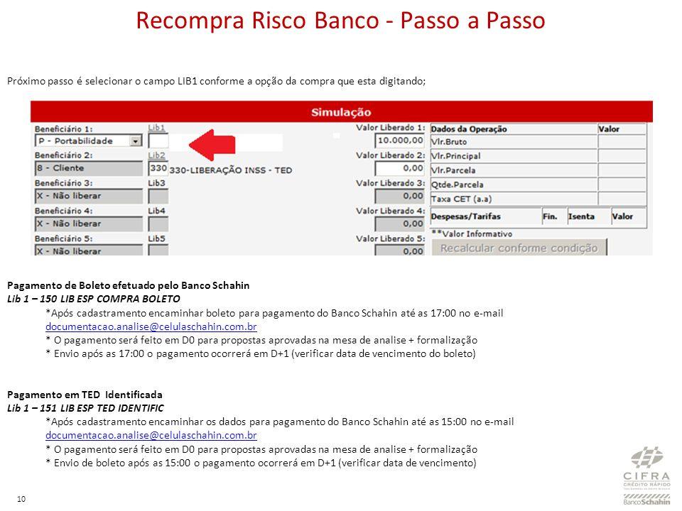 Recompra Risco Banco - Passo a Passo