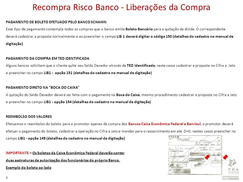 Recompra Risco Banco - Liberações da Compra