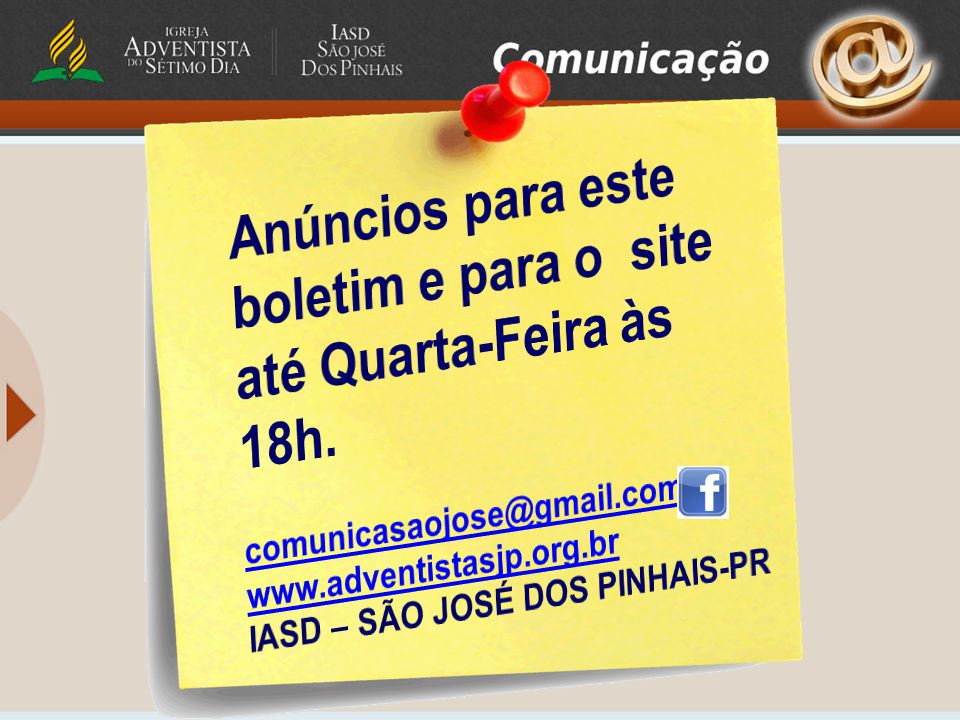 Anúncios para este boletim e para o site até Quarta-Feira às 18h.