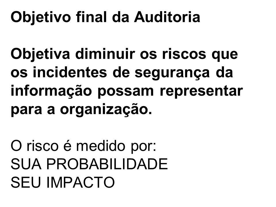 Objetivo final da Auditoria Objetiva diminuir os riscos que os incidentes de segurança da informação possam representar para a organização.