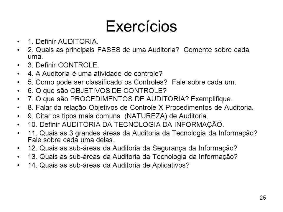 Exercícios 1. Definir AUDITORIA.