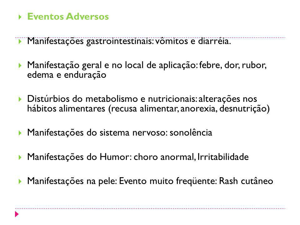 Eventos Adversos Manifestações gastrointestinais: vômitos e diarréia.
