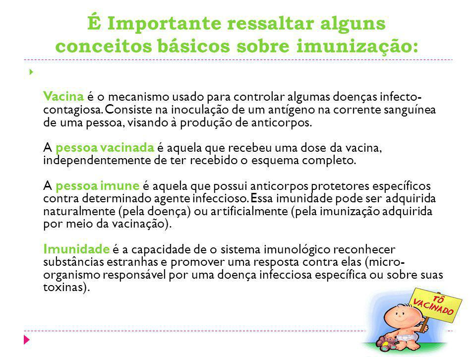 É Importante ressaltar alguns conceitos básicos sobre imunização: