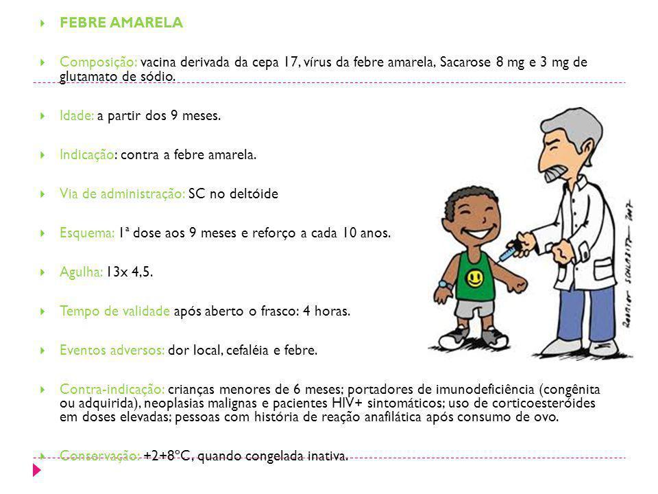 FEBRE AMARELA Composição: vacina derivada da cepa 17, vírus da febre amarela, Sacarose 8 mg e 3 mg de glutamato de sódio.