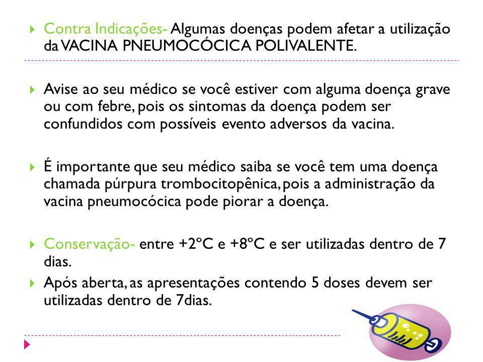 Contra Indicações- Algumas doenças podem afetar a utilização da VACINA PNEUMOCÓCICA POLIVALENTE.