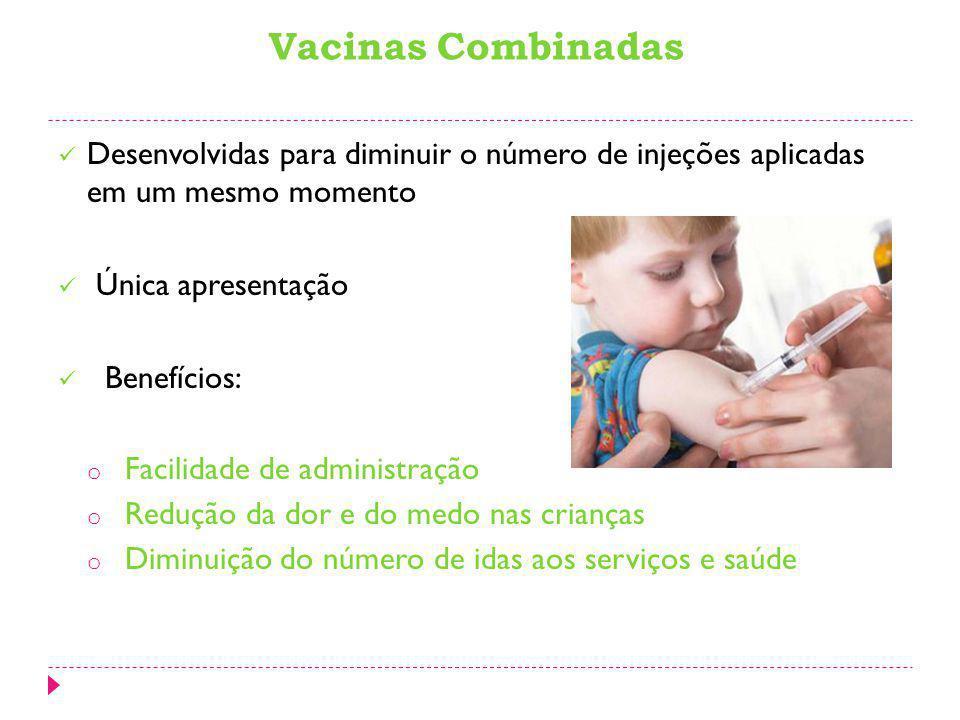 Vacinas Combinadas Desenvolvidas para diminuir o número de injeções aplicadas em um mesmo momento.