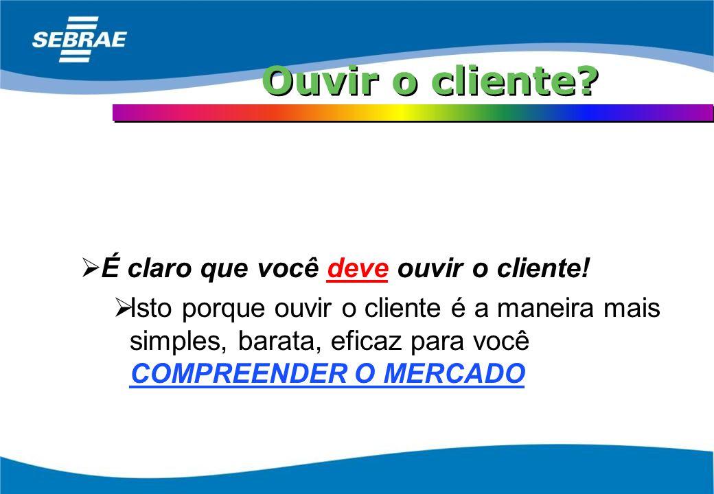 Ouvir o cliente É claro que você deve ouvir o cliente!