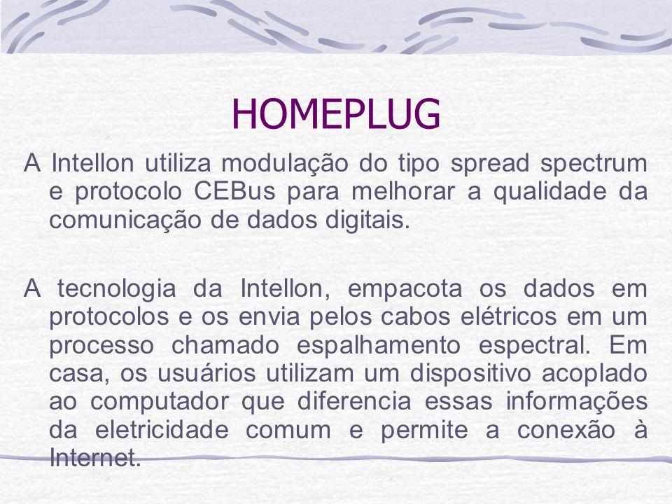 HOMEPLUG A Intellon utiliza modulação do tipo spread spectrum e protocolo CEBus para melhorar a qualidade da comunicação de dados digitais.