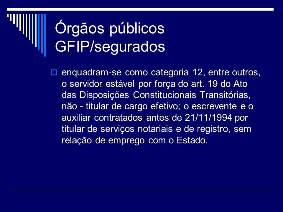 Órgãos públicos GFIP/segurados