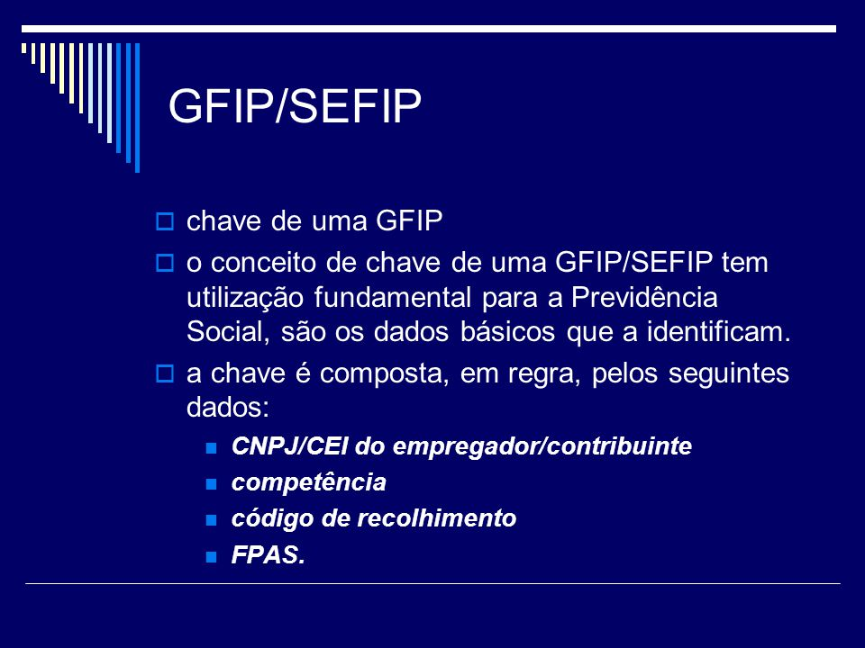 GFIP/SEFIP chave de uma GFIP