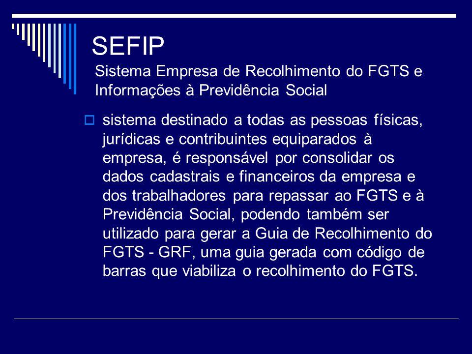 SEFIP Sistema Empresa de Recolhimento do FGTS e Informações à Previdência Social.