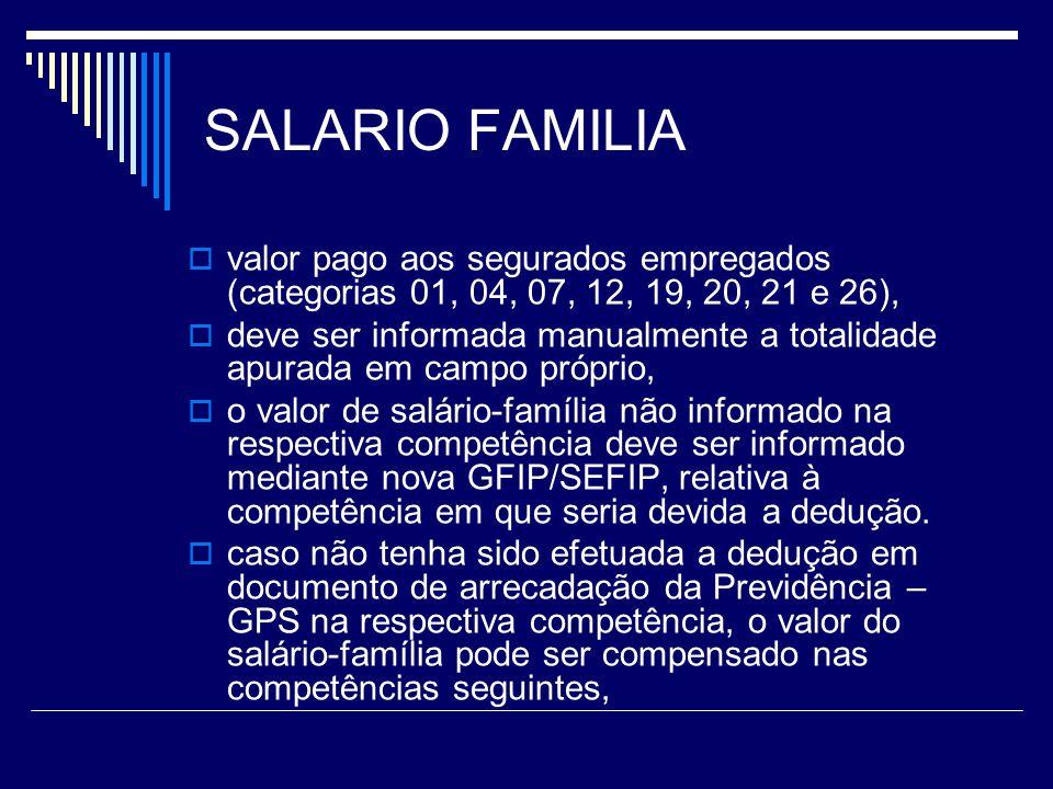 SALARIO FAMILIA valor pago aos segurados empregados (categorias 01, 04, 07, 12, 19, 20, 21 e 26),