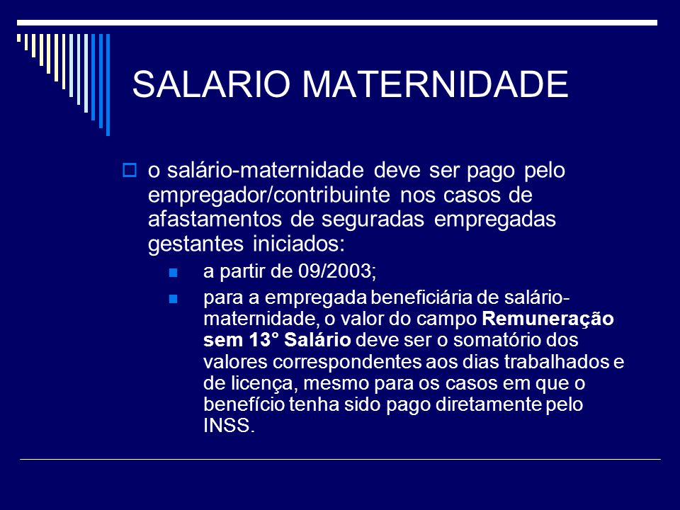 SALARIO MATERNIDADE