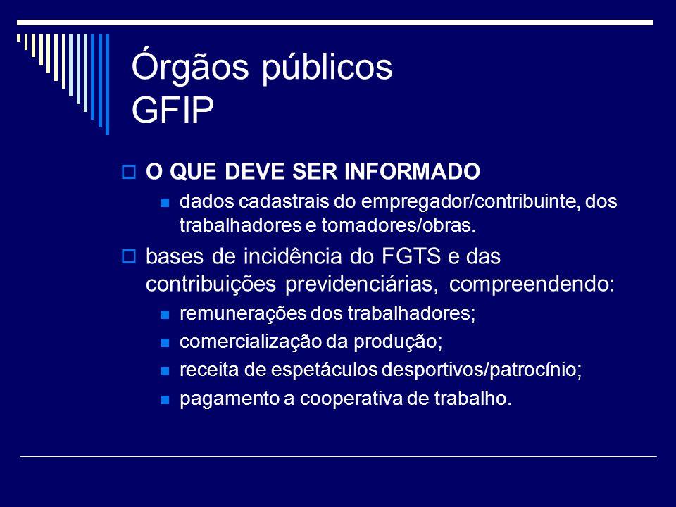 Órgãos públicos GFIP O QUE DEVE SER INFORMADO