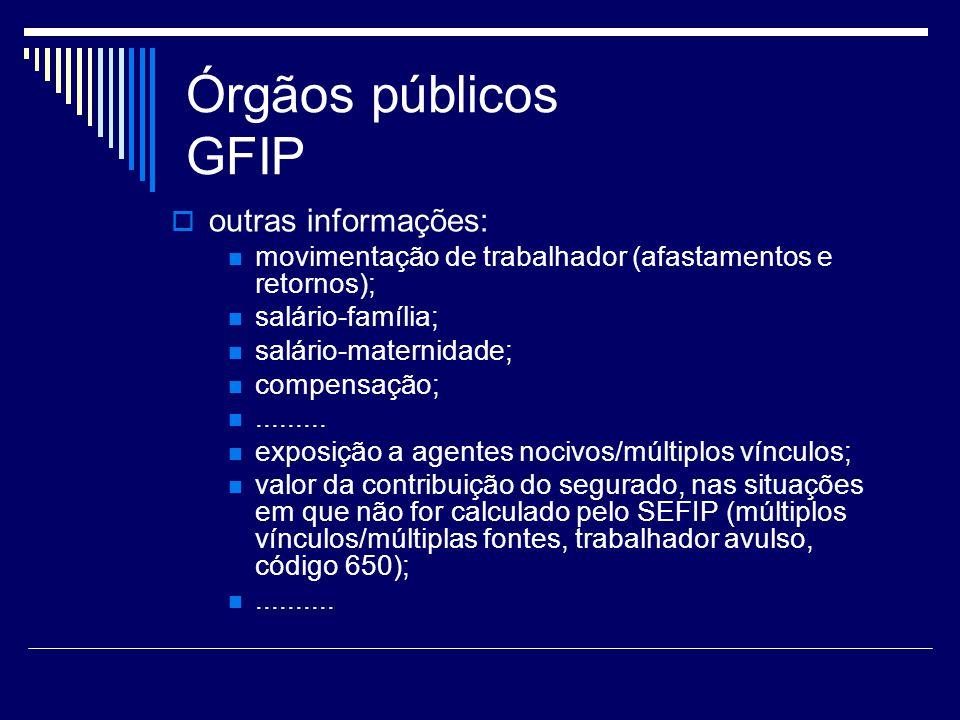 Órgãos públicos GFIP outras informações: