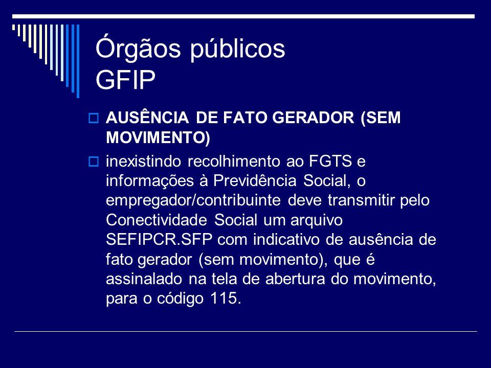 Órgãos públicos GFIP AUSÊNCIA DE FATO GERADOR (SEM MOVIMENTO)