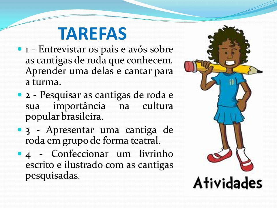 TAREFAS 1 - Entrevistar os pais e avós sobre as cantigas de roda que conhecem. Aprender uma delas e cantar para a turma.