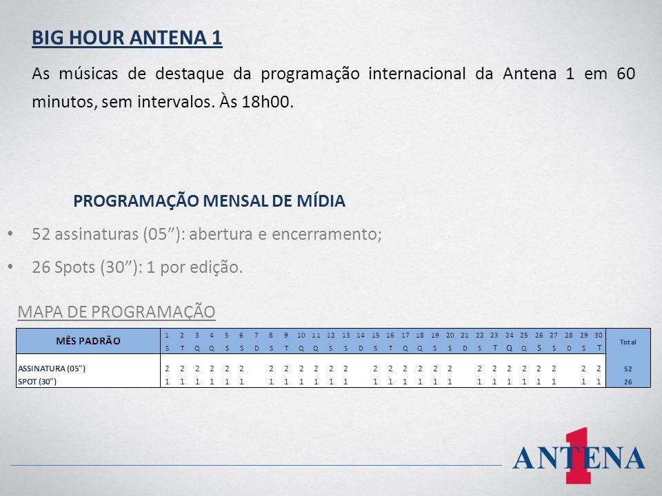 BIG HOUR ANTENA 1 As músicas de destaque da programação internacional da Antena 1 em 60 minutos, sem intervalos. Às 18h00.