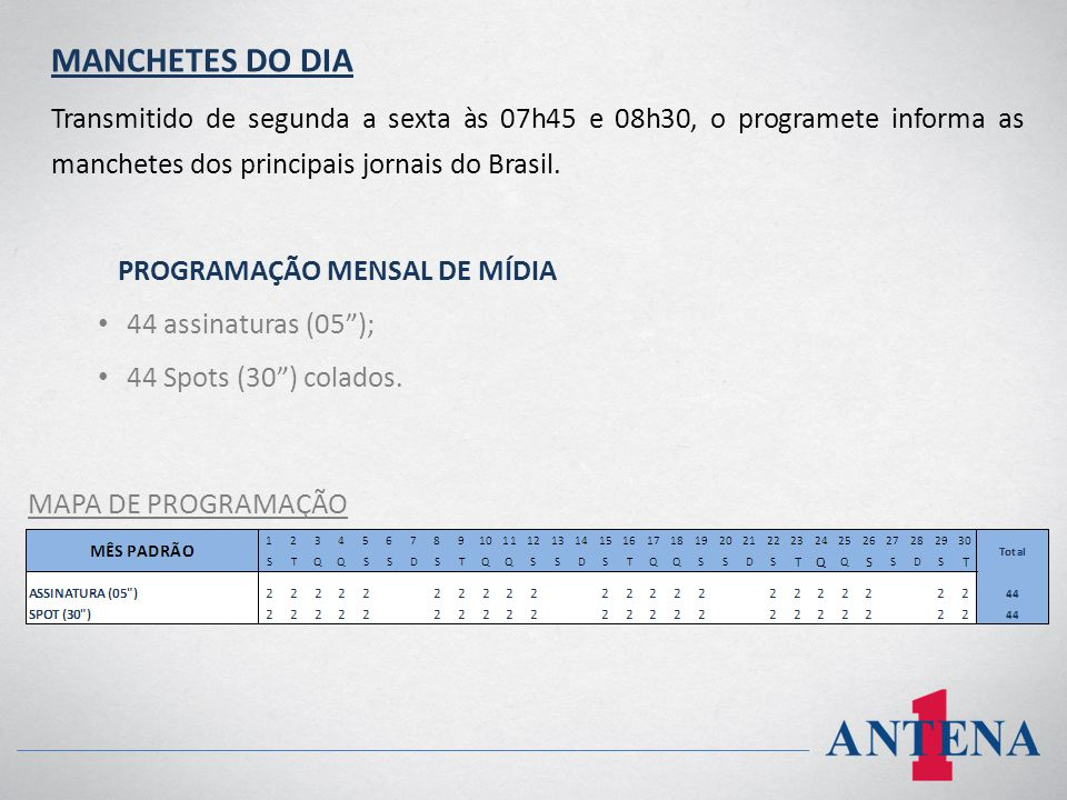 MANCHETES DO DIA Transmitido de segunda a sexta às 07h45 e 08h30, o programete informa as manchetes dos principais jornais do Brasil.