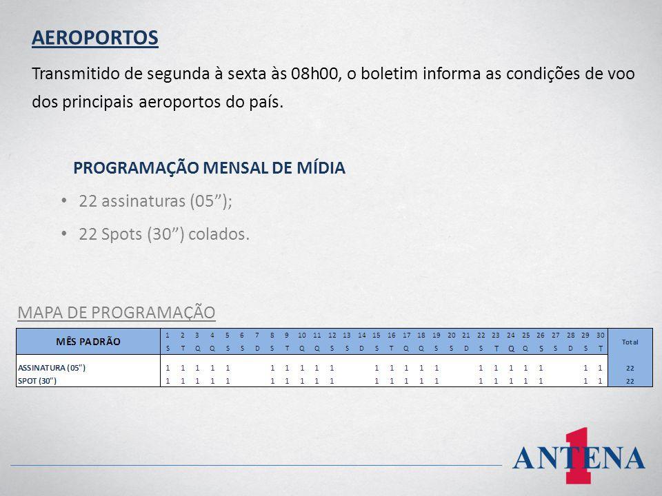 AEROPORTOS Transmitido de segunda à sexta às 08h00, o boletim informa as condições de voo dos principais aeroportos do país.