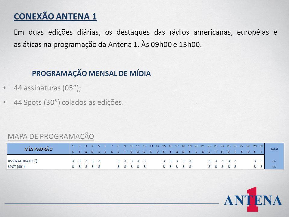 CONEXÃO ANTENA 1 Em duas edições diárias, os destaques das rádios americanas, européias e asiáticas na programação da Antena 1. Às 09h00 e 13h00.