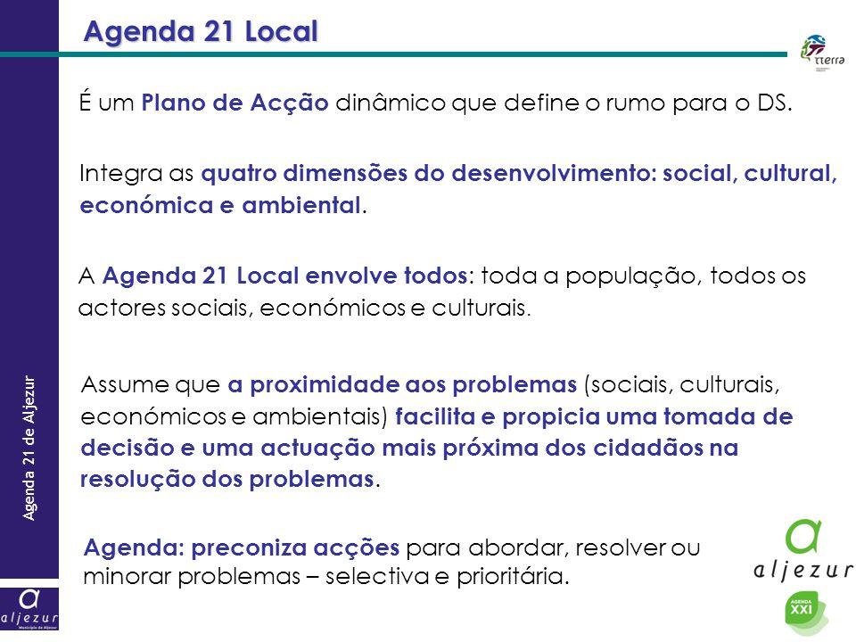 Agenda 21 Local É um Plano de Acção dinâmico que define o rumo para o DS.