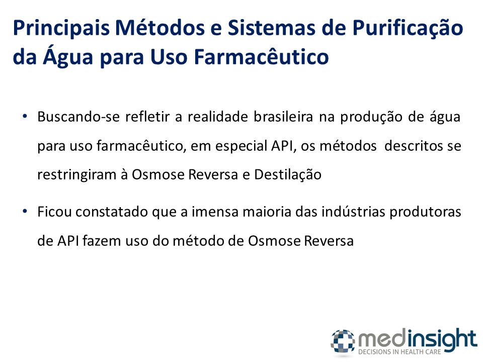 Principais Métodos e Sistemas de Purificação da Água para Uso Farmacêutico