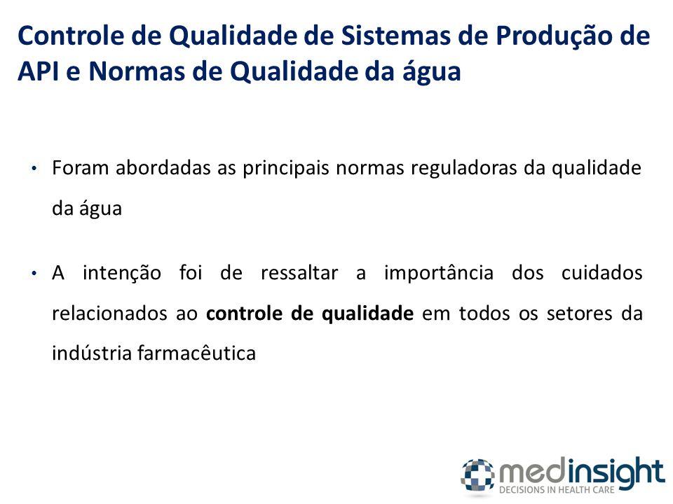 Controle de Qualidade de Sistemas de Produção de API e Normas de Qualidade da água
