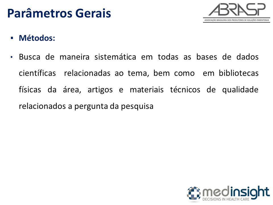 Parâmetros Gerais Métodos: