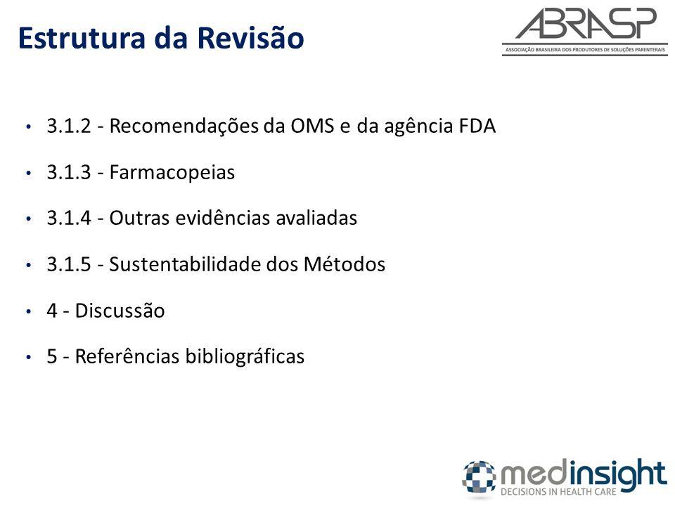 Estrutura da Revisão 3.1.2 - Recomendações da OMS e da agência FDA