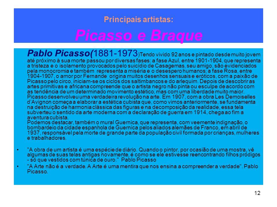 Principais artistas: Picasso e Braque